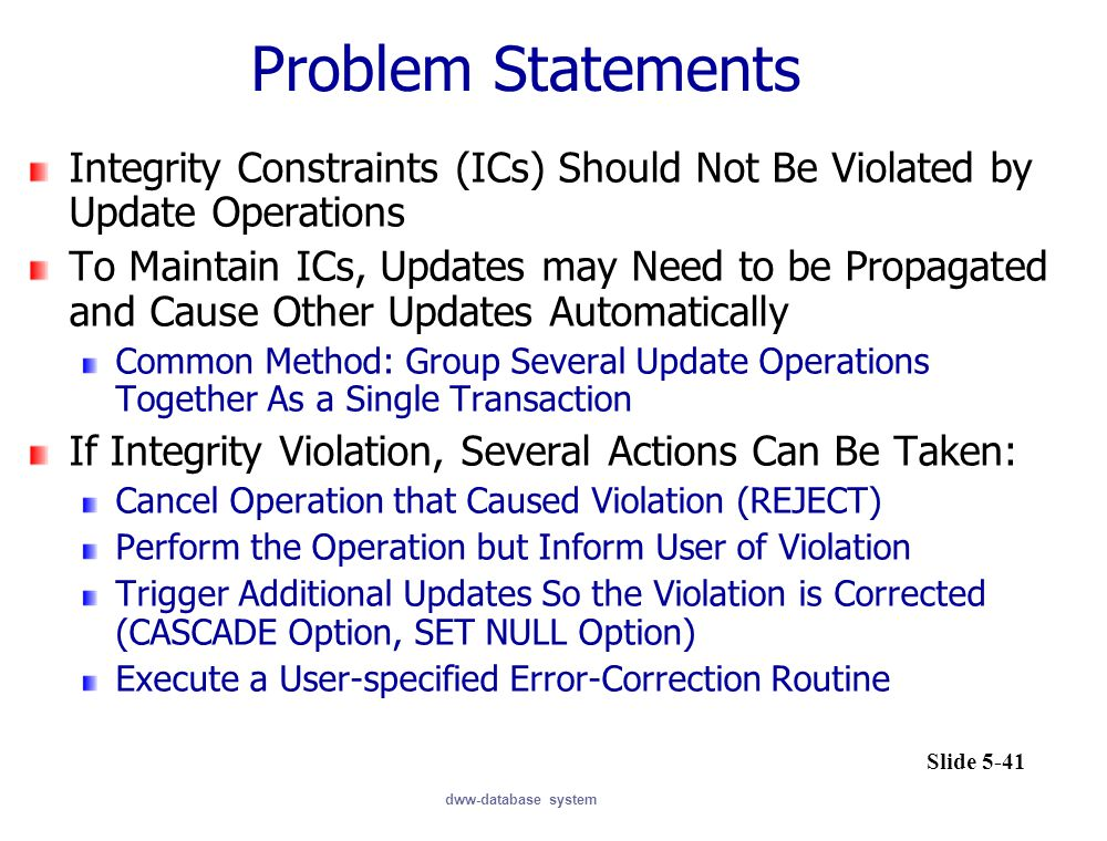 Problem Statements Integrity Constraints (ICs) Should Not Be Violated by Update Operations.