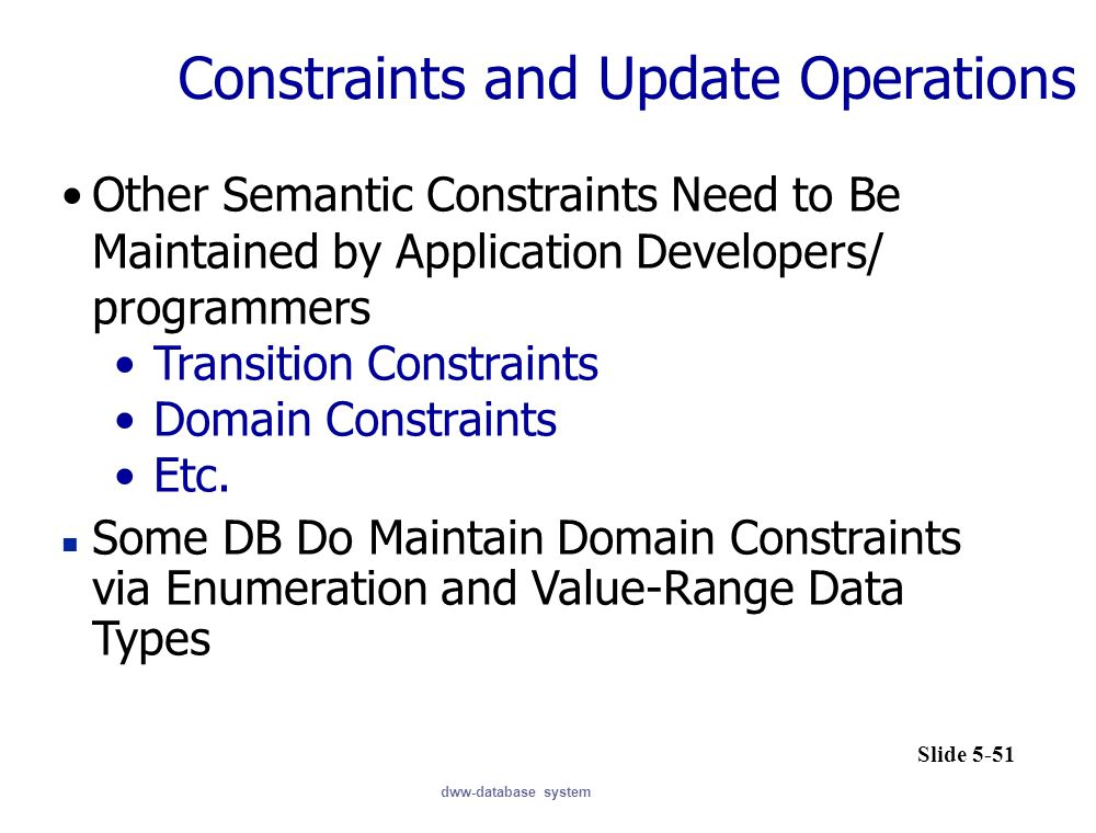 Constraints and Update Operations