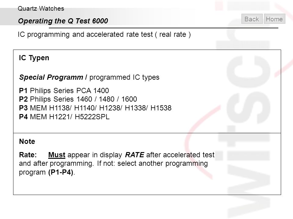 IC programming and accelerated rate test ( real rate )