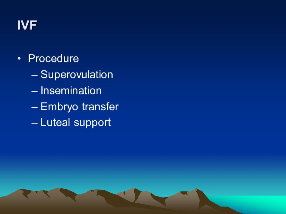 IVF Procedure Superovulation Insemination Embryo transfer