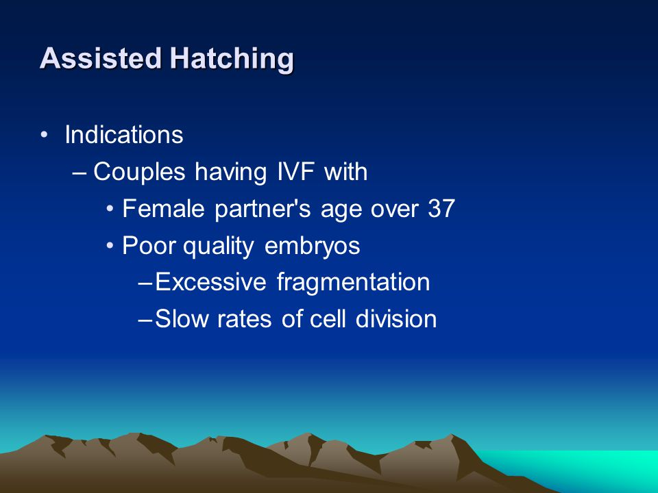 Assisted Hatching Indications Couples having IVF with