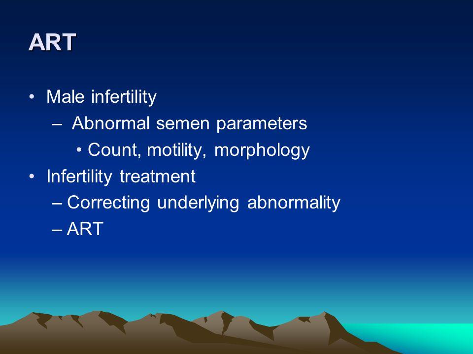 ART Male infertility Abnormal semen parameters