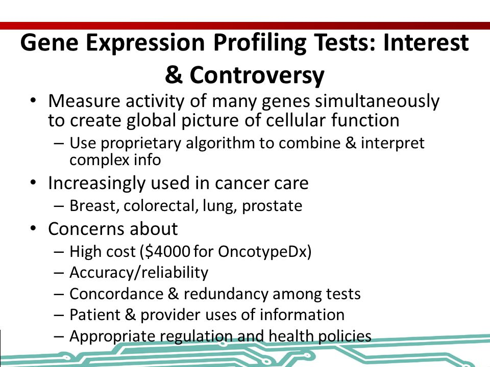 Gene Expression Profiling Tests: Interest & Controversy