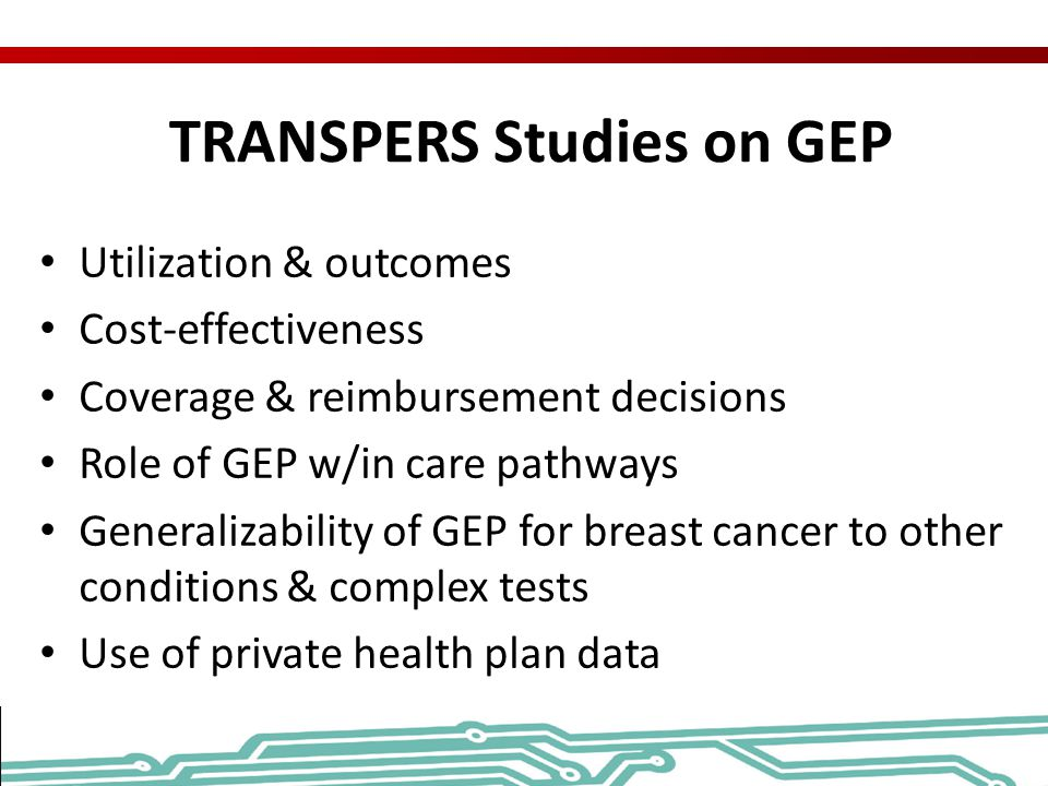 TRANSPERS Studies on GEP