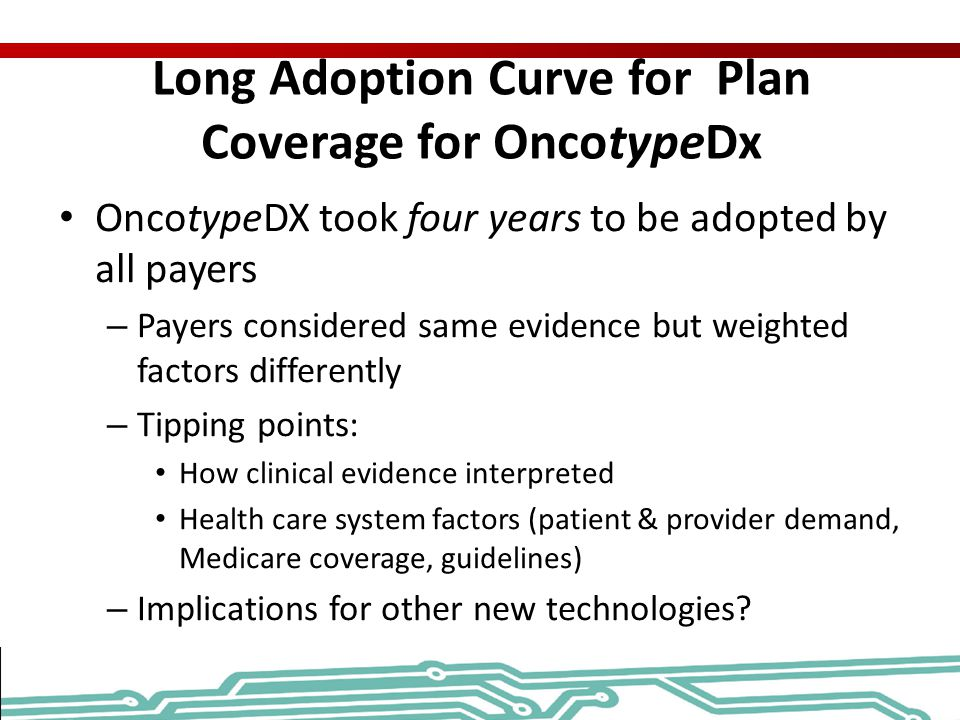 Long Adoption Curve for Plan Coverage for OncotypeDx
