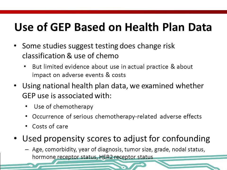 Use of GEP Based on Health Plan Data