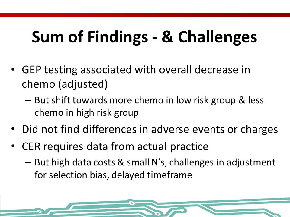 Sum of Findings - & Challenges
