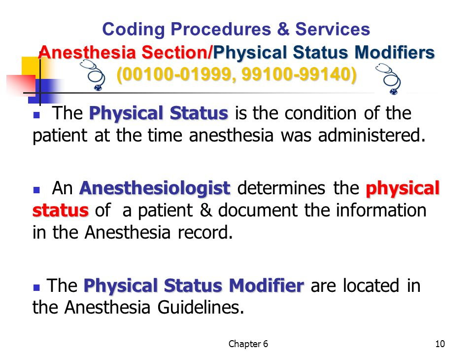 The Physical Status Modifier are located in the Anesthesia Guidelines.