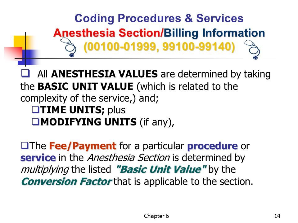 Coding Procedures & Services Anesthesia Section/Billing Information (00100-01999, 99100-99140)