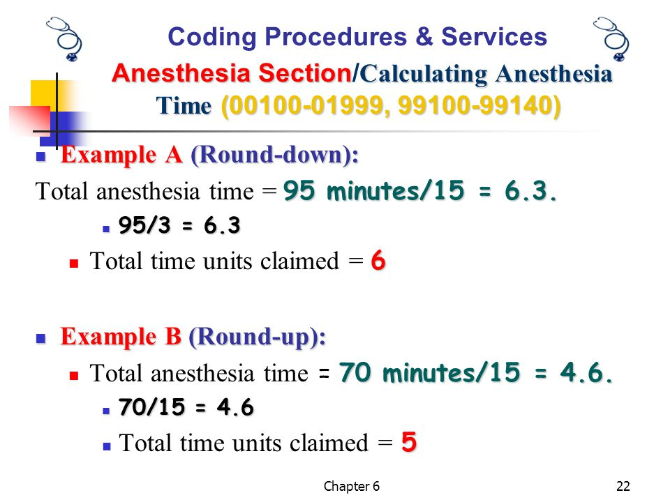 Example A (Round-down): Total anesthesia time = 95 minutes/15 = 6.3.