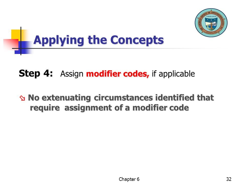 Applying the Concepts Step 4: Assign modifier codes, if applicable