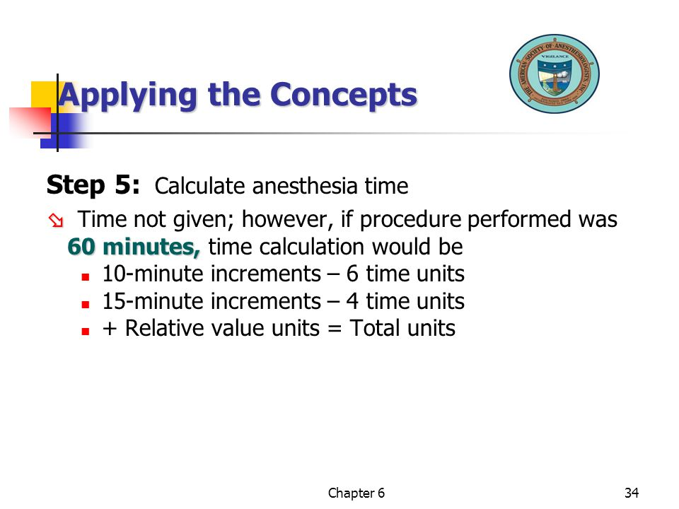 Applying the Concepts Step 5: Calculate anesthesia time