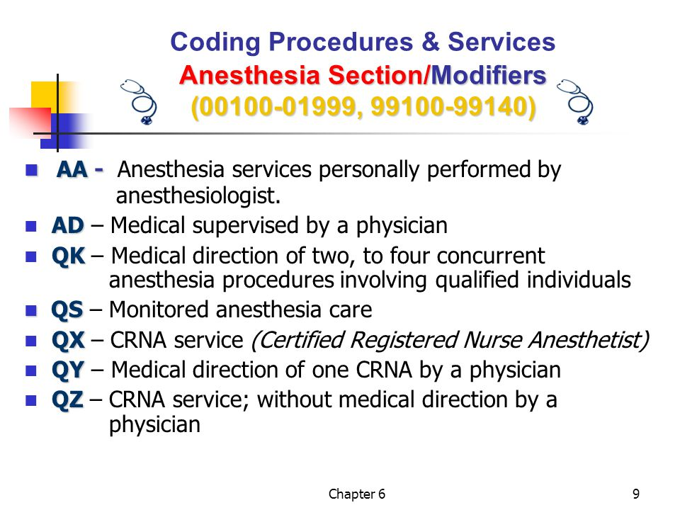 AA - Anesthesia services personally performed by anesthesiologist.