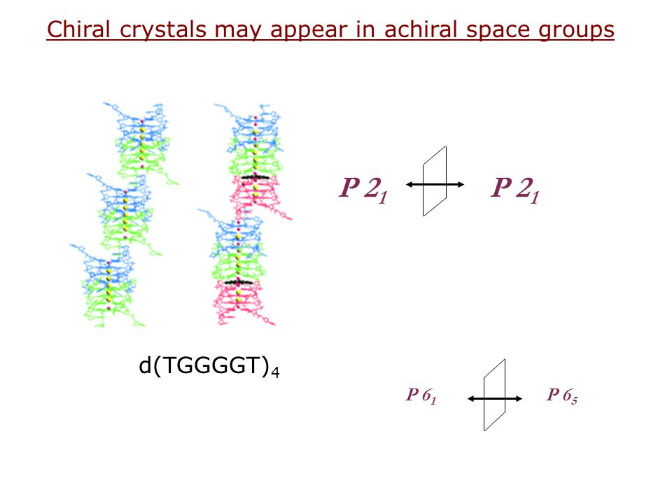 P 21 Chiral crystals may appear in achiral space groups d(TGGGGT)4