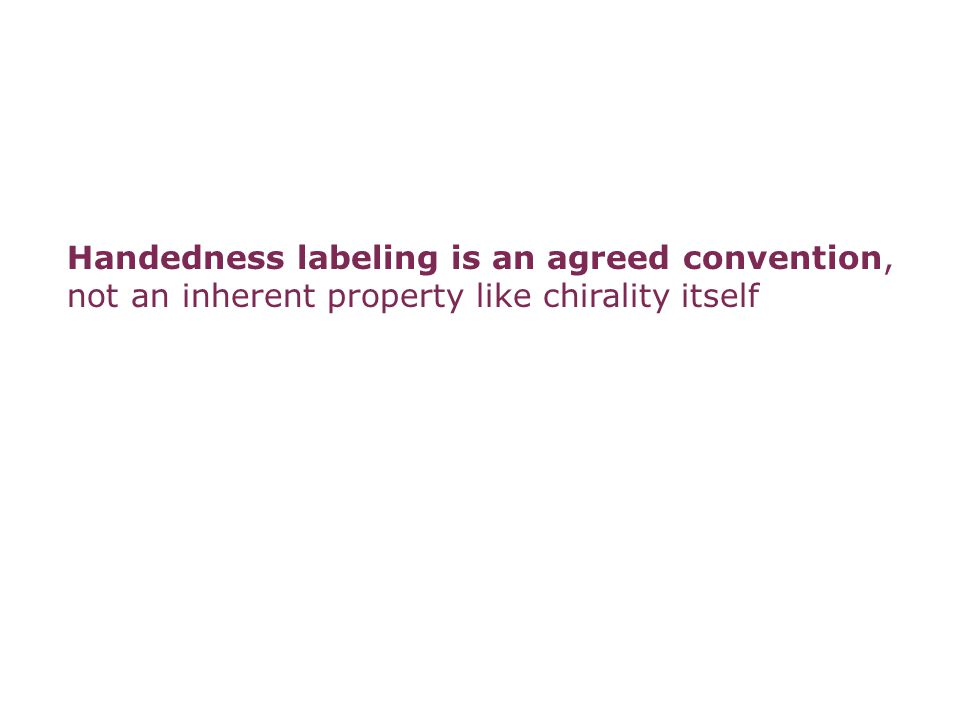 Handedness labeling is an agreed convention,