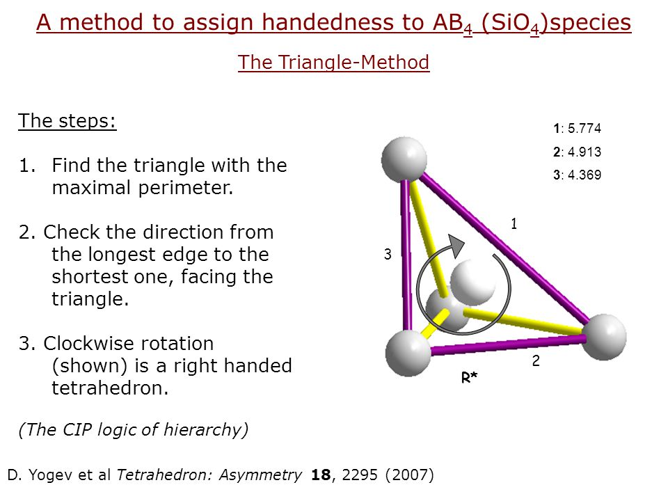 A method to assign handedness to AB4 (SiO4)species