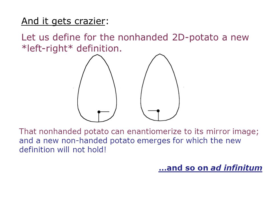 And it gets crazier: Let us define for the nonhanded 2D-potato a new *left-right* definition.