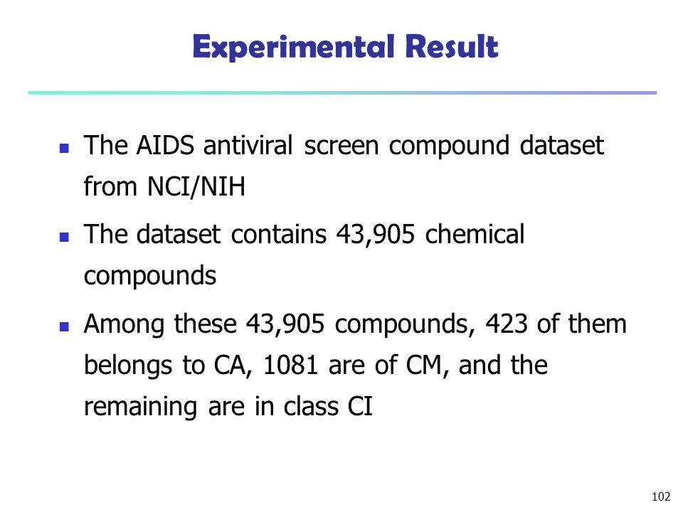 Experimental Result The AIDS antiviral screen compound dataset from NCI/NIH. The dataset contains 43,905 chemical compounds.