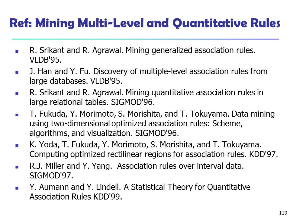 Ref: Mining Multi-Level and Quantitative Rules