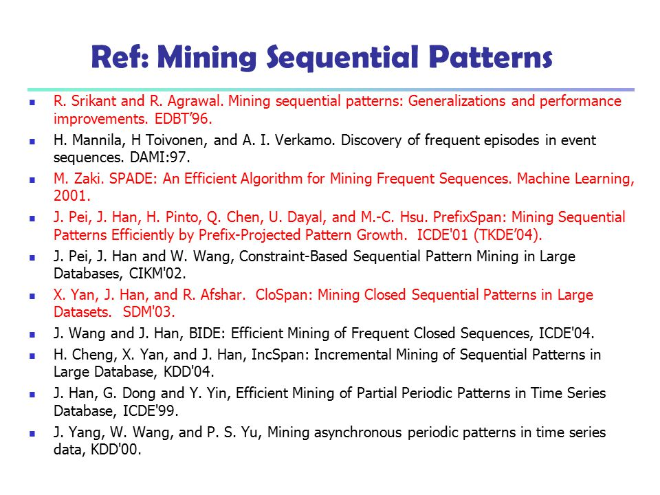 Ref: Mining Sequential Patterns