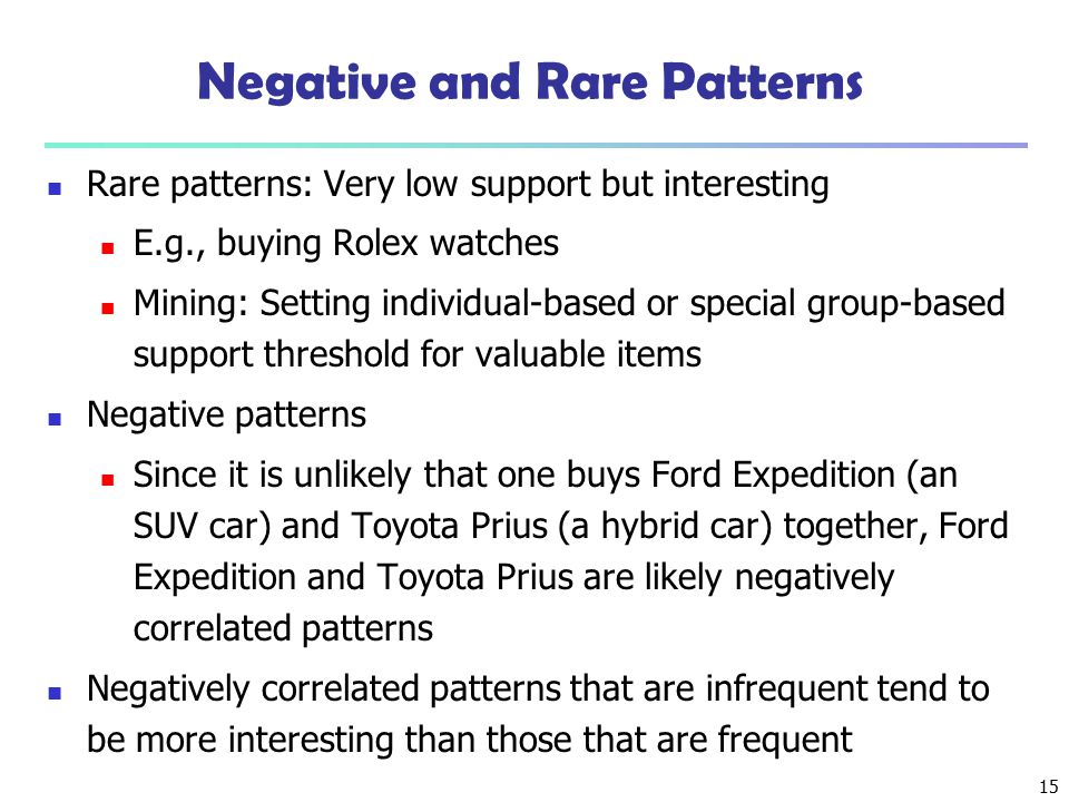 Negative and Rare Patterns