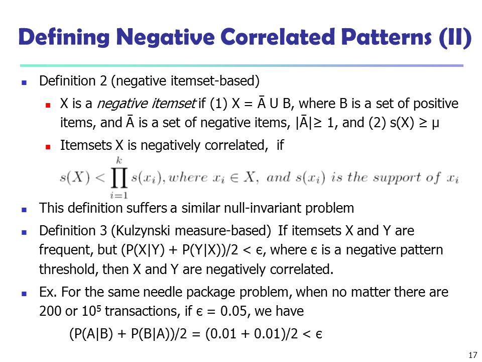 Defining Negative Correlated Patterns (II)