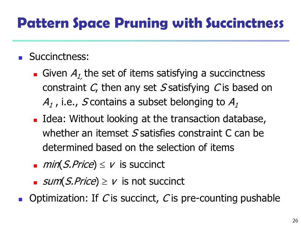 Pattern Space Pruning with Succinctness