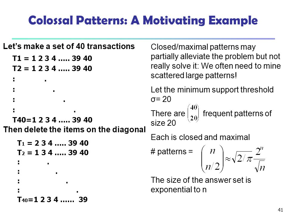 Colossal Patterns: A Motivating Example