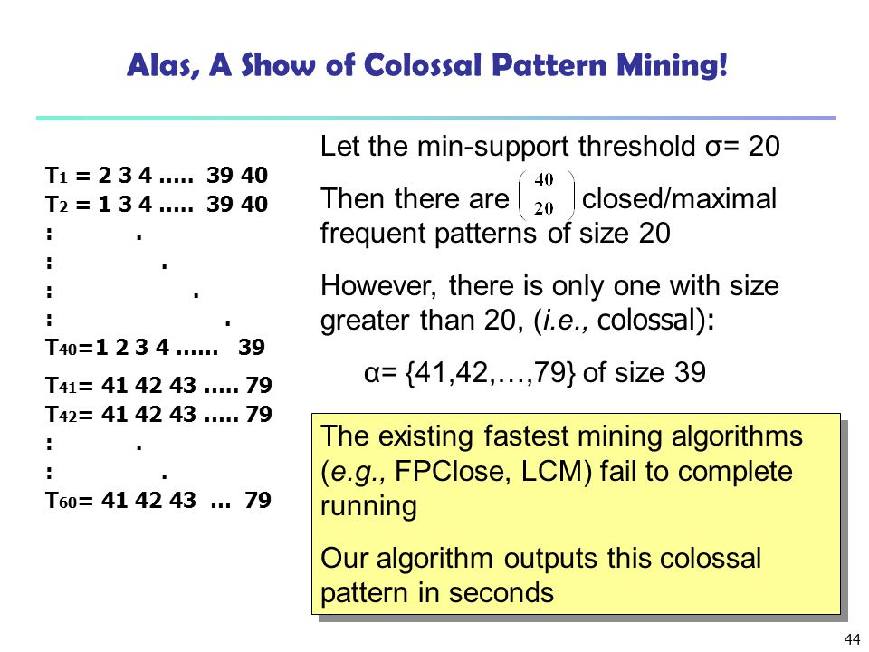 Alas, A Show of Colossal Pattern Mining!