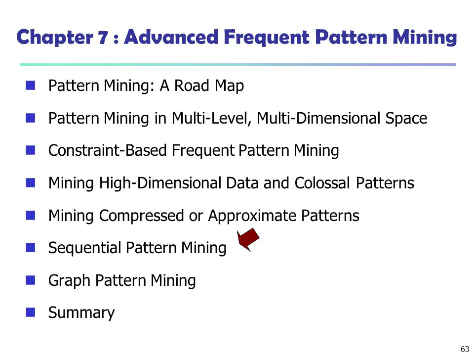 Chapter 7 : Advanced Frequent Pattern Mining