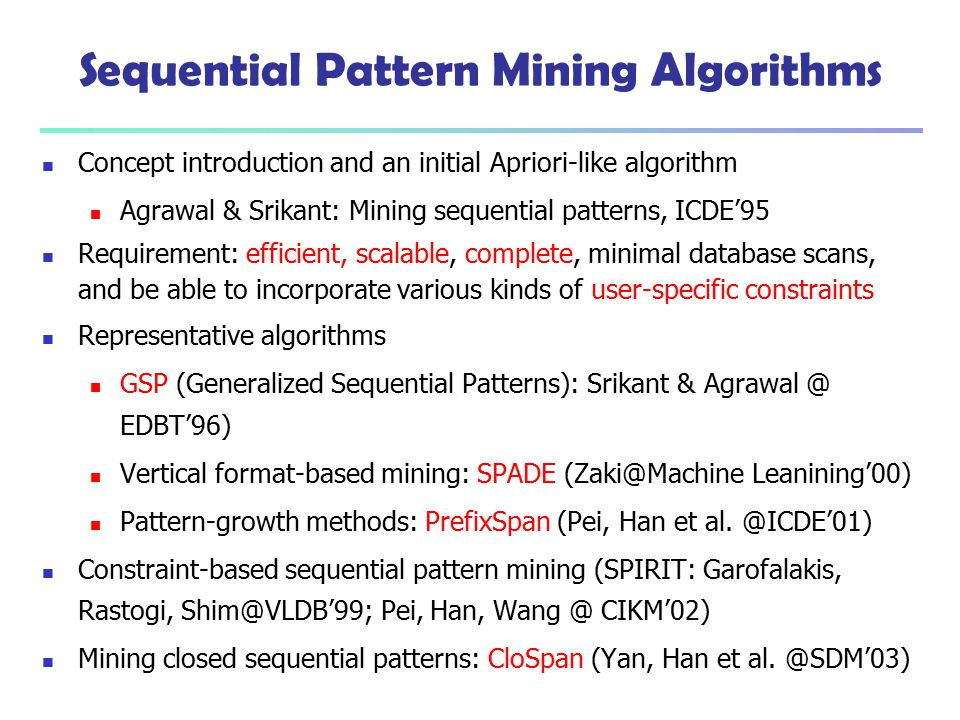 Sequential Pattern Mining Algorithms
