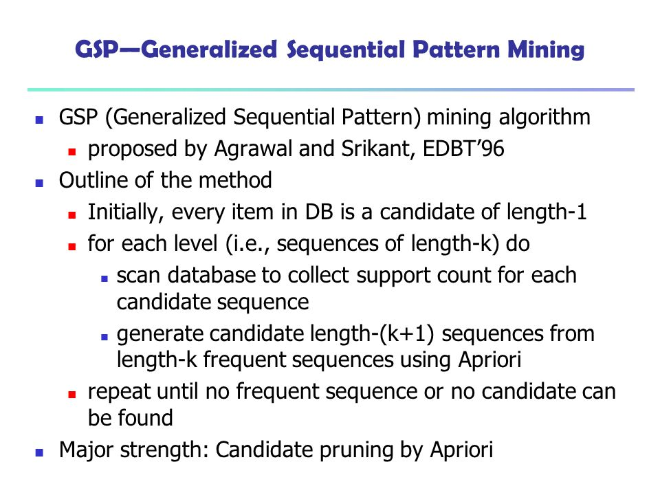 GSP—Generalized Sequential Pattern Mining