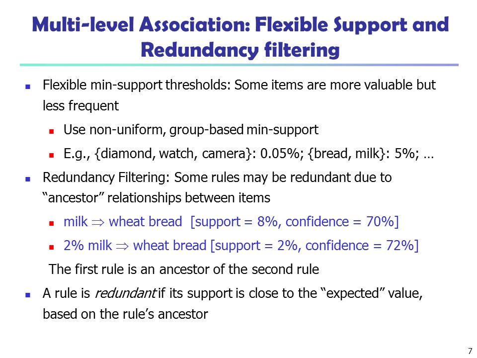 Multi-level Association: Flexible Support and Redundancy filtering