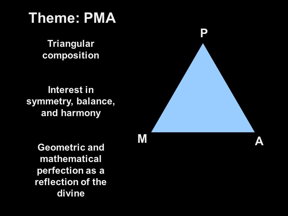 Theme: PMA P M A Triangular composition