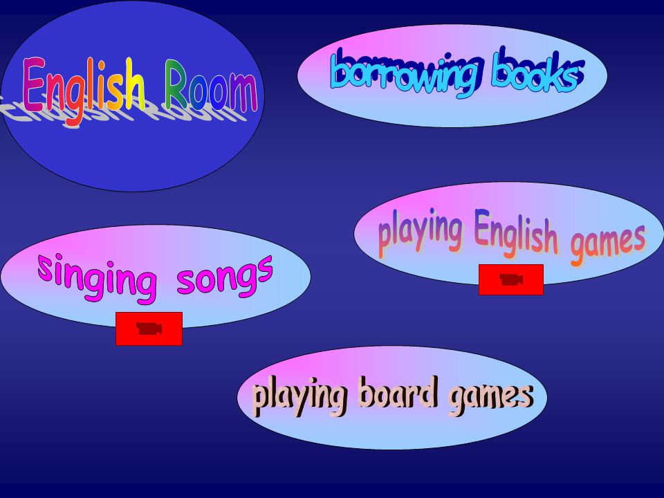 borrowing books English Room playing English games singing songs playing board games