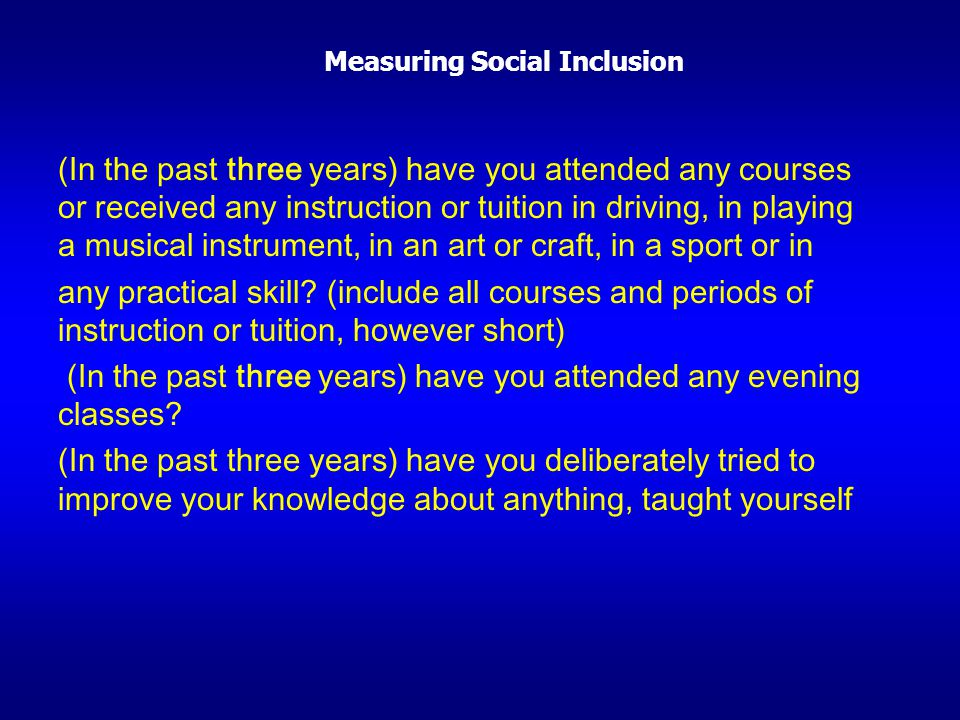 Measuring Social Inclusion