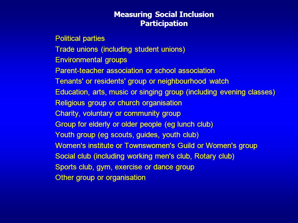 Measuring Social Inclusion Participation