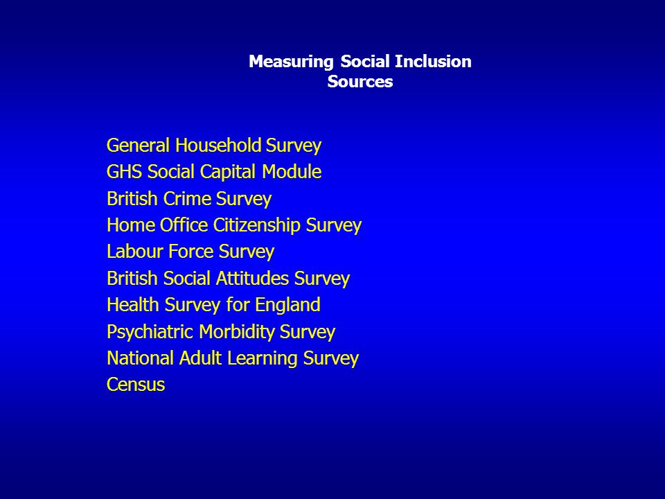 Measuring Social Inclusion Sources