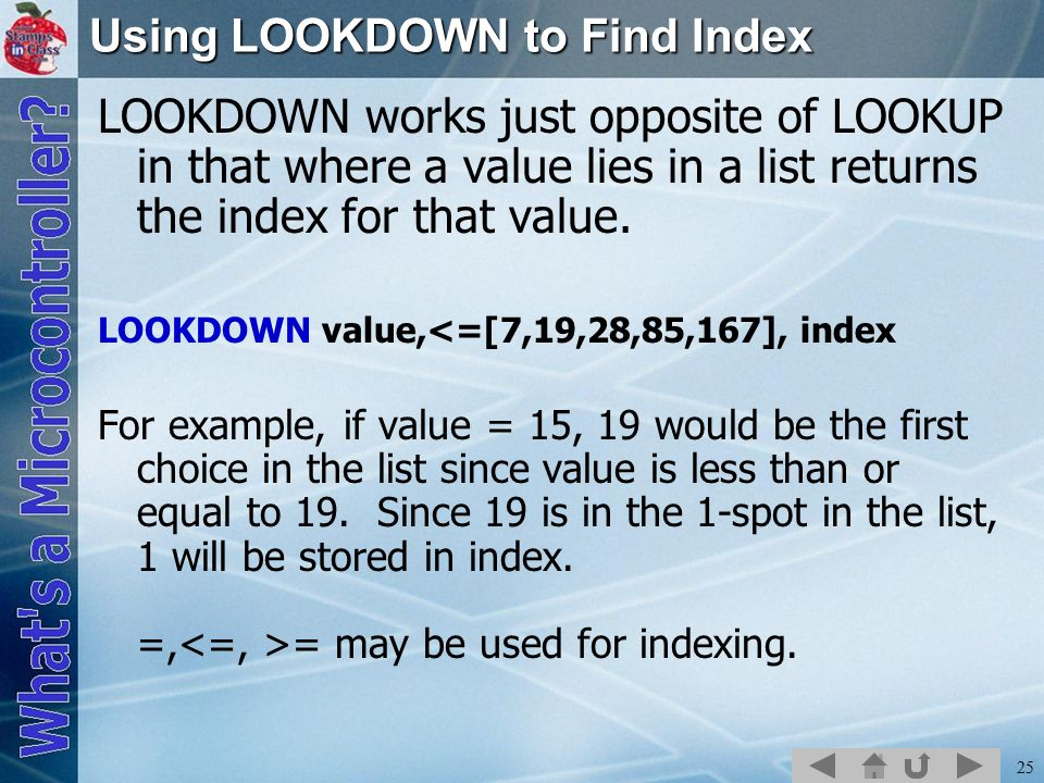 Using LOOKDOWN to Find Index