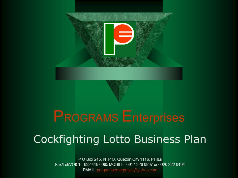 PROGRAMS Enterprises Cockfighting Lotto Business Plan