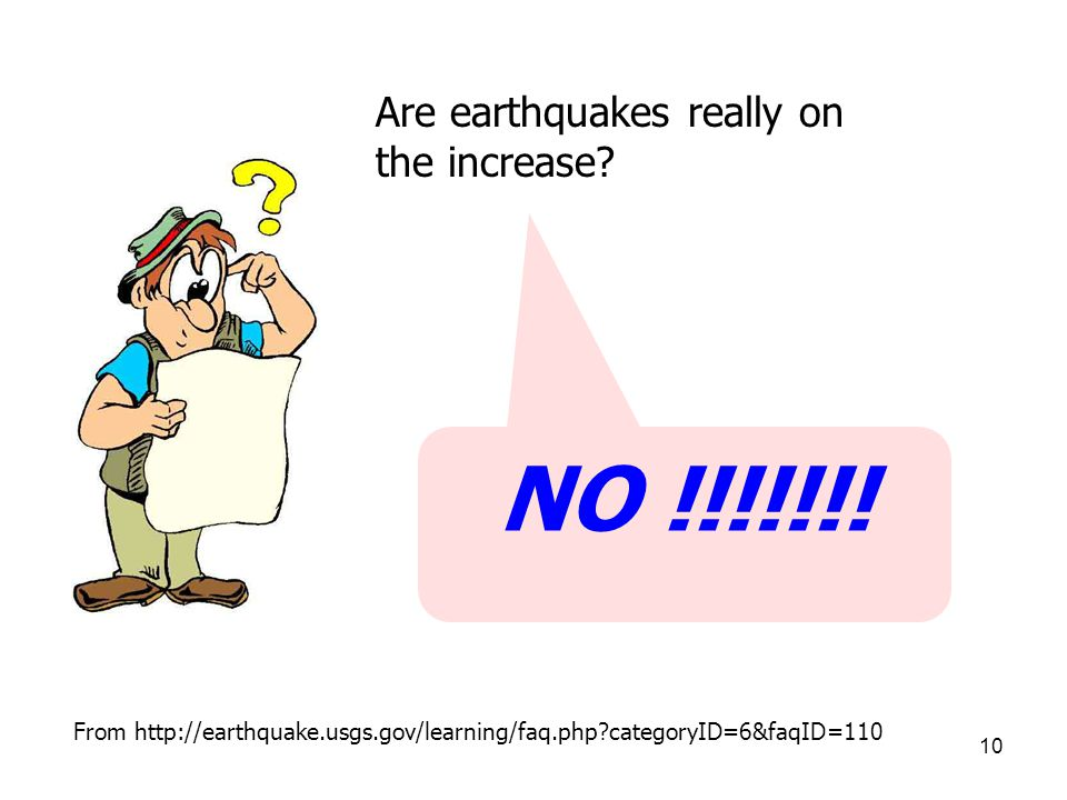 NO !!!!!!! Are earthquakes really on the increase