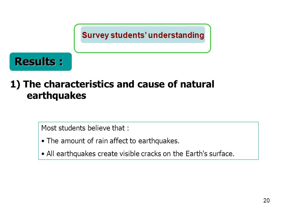 Results : 1) The characteristics and cause of natural earthquakes