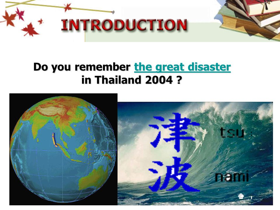 Do you remember the great disaster in Thailand 2004