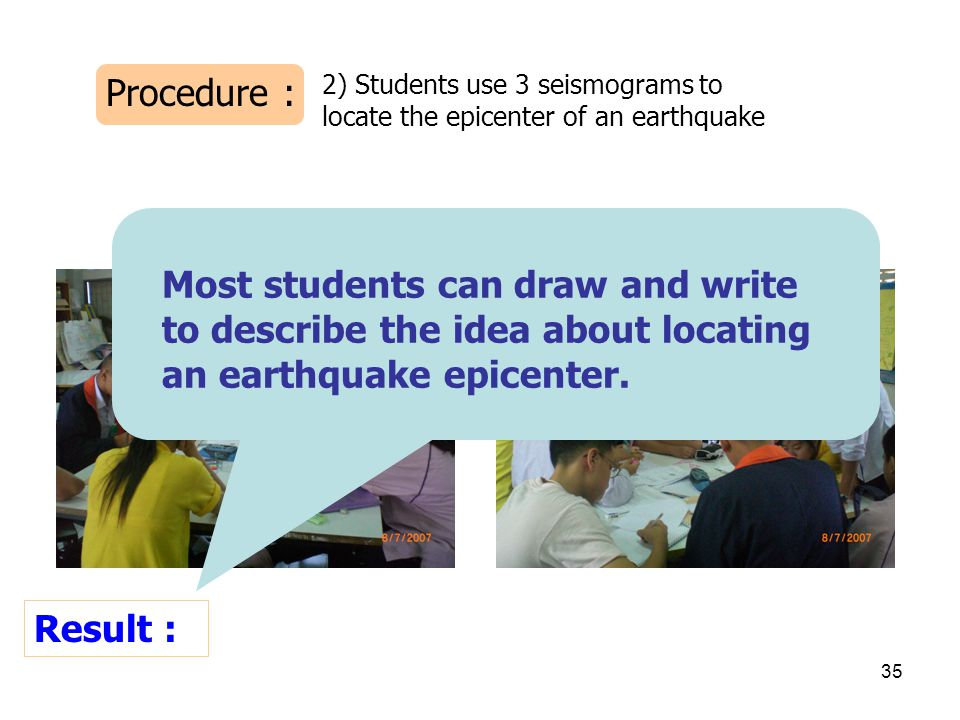 Procedure : 2) Students use 3 seismograms to locate the epicenter of an earthquake. Result :