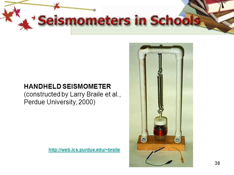 HANDHELD SEISMOMETER (constructed by Larry Braile et al