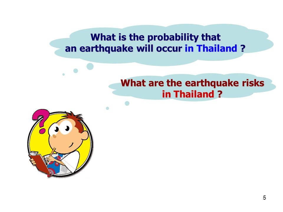 What is the probability that an earthquake will occur in Thailand
