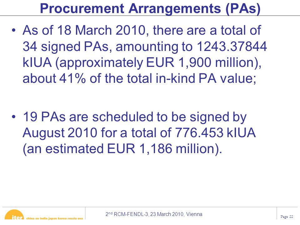 Procurement Arrangements (PAs)