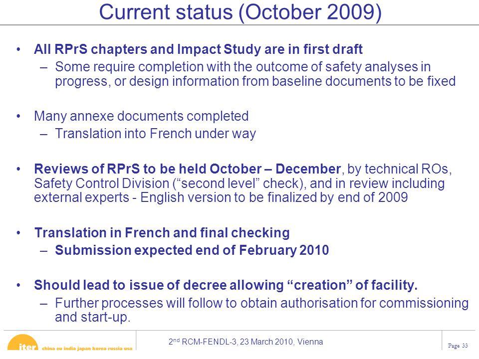 Current status (October 2009)