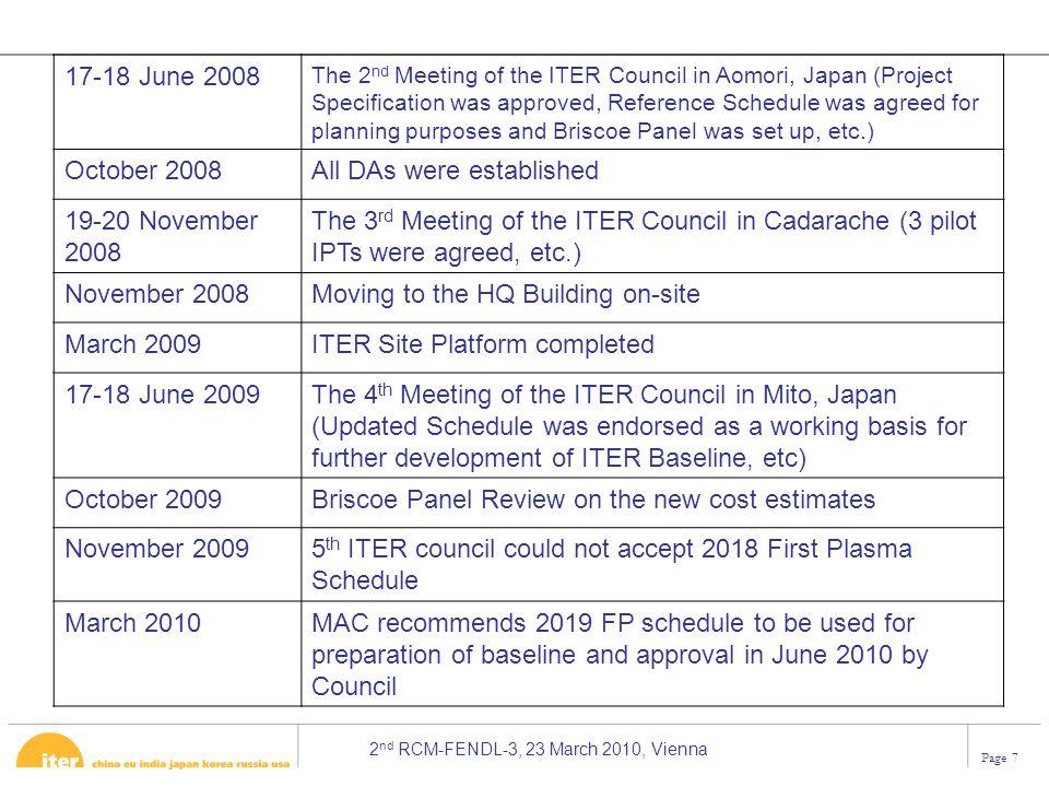 All DAs were established 19-20 November 2008