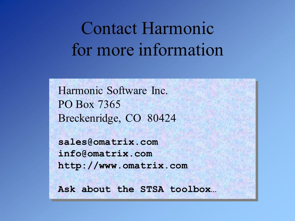Contact Harmonic for more information